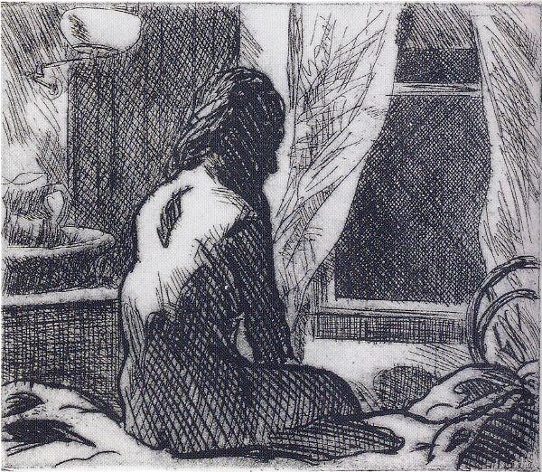 אדוארד הופר, 1918-19, החלון הפתוח, תחריט, מוזיאון ויטני, ניו יורק