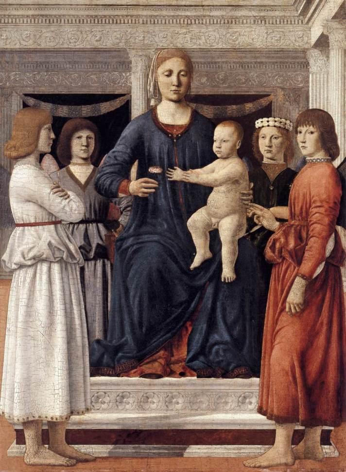 פיירו דלה פרנצ'סקה, המדונה וישוע הילד במחיצת מלאכים, 1460-1470, מוזיאון קלרק לאמנות, ויליאמסטאון