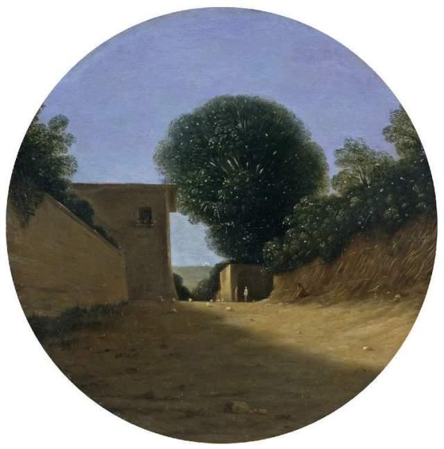 """גוטרפיד ולס, דרך בכפר ליד בית, המאה ה-17 (לפני 1640), שמן על לוח נחושת, 24.5 ס""""מ קוטר, מוזיאון פיצוויליאם"""