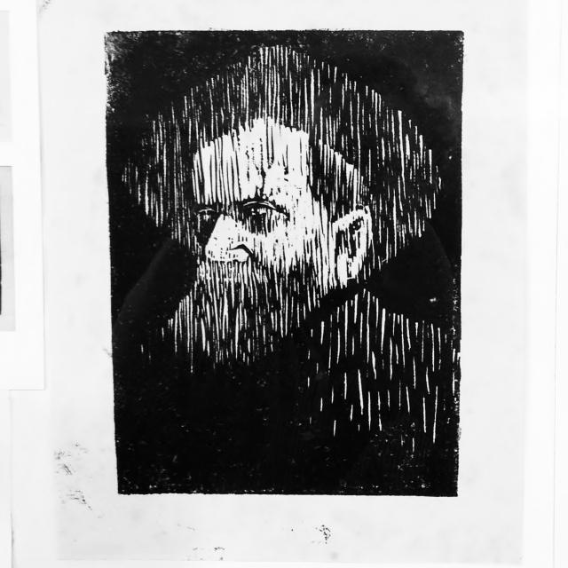 דני קרמן, דיוקן, חיתוך לינולאום, 1956