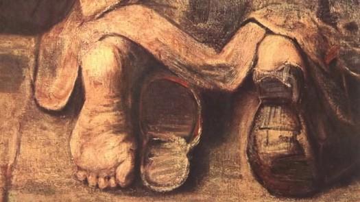 רמברנדט, שיבת הבן האובד, 1661-9 בערך [פרט]