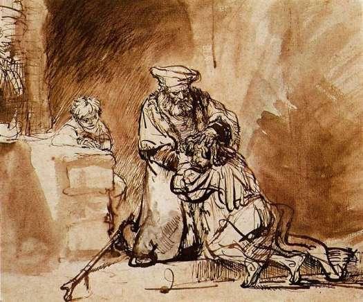 רמברנדט, שיבת הבן האובד, רישום דיו, 1642